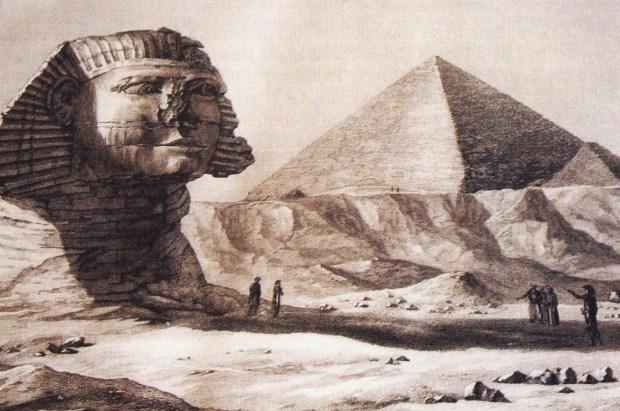 """Le sphinx et les pyramides, dessin paru dans la """"Description de l'Egypte"""""""