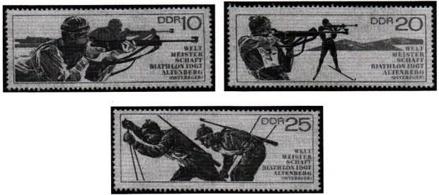 Série de l'ex-Allemagne de l'Est émise pour les championnats du monde de Biathlon à Altenberg en 1967